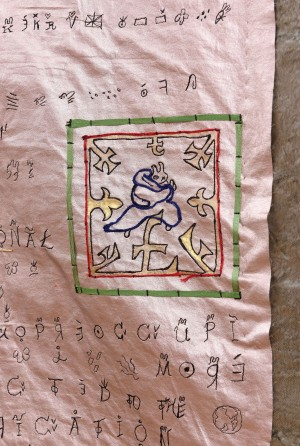Detail of a Manuscript of Rabbrexit, embroidery on Rabbitus Metallicus skin © YiMiao Shih collection, photo Justin Piperger 1
