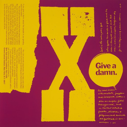 X give a damn, 1968, serigraph © Corita Art Center Immaculate Heart Community Los Angeles copy