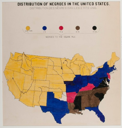Distribution of Negroes in the United States, 1900, ink and watercolour © W. E. B. Du Bois