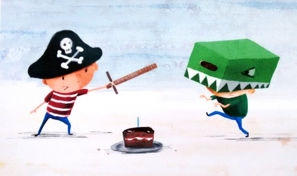 Pirate and Dinosaur fight (c) Keith Livingstone