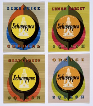 Bottle labels for Schweppes, 1960 © The Estate of George Him