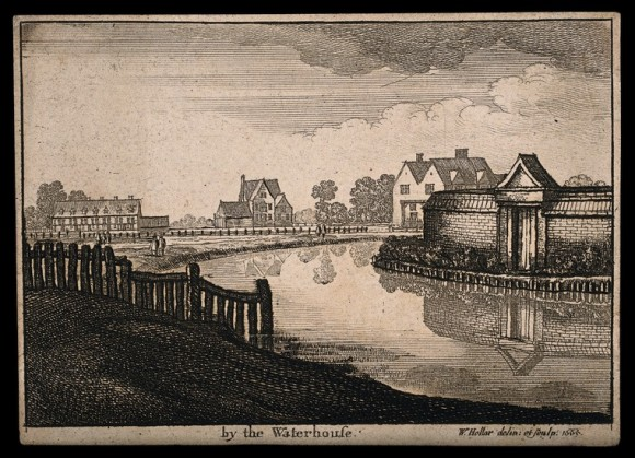 The New River, Islington. Etching by W. Hollar, 1665. Credit Wellcome Collection.